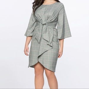 Eloquii plaid tie in front wide sleeve dress sz 26